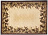 Rustic Lodge Pine Cone Border Brown 5x7 Area Rug, 5'3x7'3