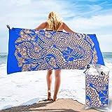 Lawenp Toalla de Playa de Secado rápido, dragón Dorado, patrón clásico Chino, Microfibra Estampada, Toallas de baño Ligeras, súper absorbentes para niños y Adultos, 27.5 'X55'