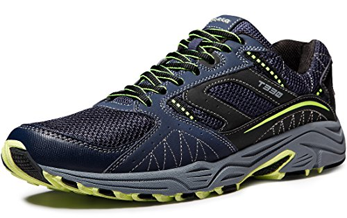 TSLA Men's Trail Running Shoe, Lightweight Breathable Outdoor Walking Sneakers, Athletic Gym Training Hiking Shoes, All Around(t330) - Navy & Citron, 10.5