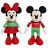 Disney Holiday 9' Bean Plush- Mickey & Minnie (Brown Mailer)