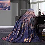 City Nap Blanket Dreamy View of Chinese City Hong Kong Urban Scene Concept Victoria Harbor Super Soft Plush Blanket Full Size Pale Pink Night Blue 70x90 Inch