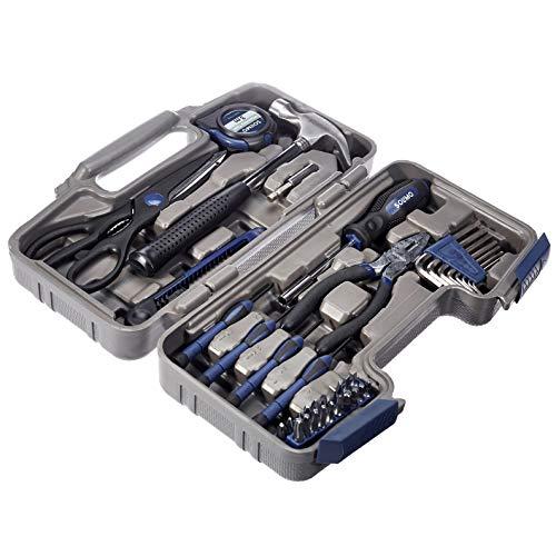 Amazon Brand - Solimo Plastic Household Tool Set (Dark Blue, 38-Pieces)