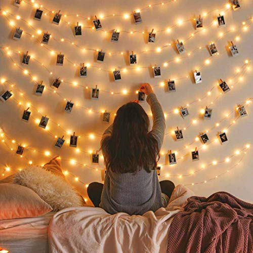 MZD8391 50 Photo Clips String Lights/Holder, Indoor Fairy String...