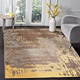 MOTINI Modern Contemporary Abstract Area Rug 5' x 7', Brown/Yellow/Grey/Gold Accent Multicolor Distressed Area Rug for Living Room Bedroom
