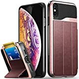 Vena iPhone Xs Max Wallet Case, [vCommute][Military Grade Drop Protection] Flip Leather Cover Card Slot Holder with Kickstand Compatible with Apple iPhone Xs Max (Rose Gold/Red/Black)