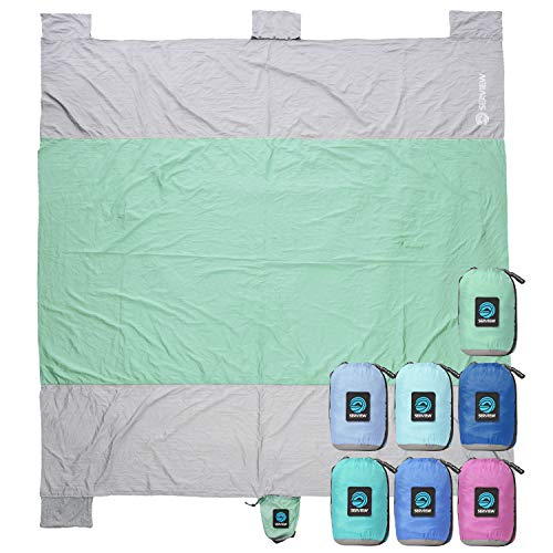 WildHorn Outfitters Seaview 180° Sand Free Oversized Beach Blanket. Large 7' x 9' Lightweight Outdoor Beach Mat. Compact Sandproof Durable Parachute Nylon w/ 4 Built in Sand Anchors & Valuable Pocket