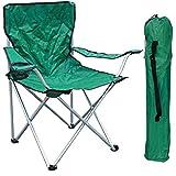Chaise de camping pliante avec porte-gobelet et sac de transport Vert...