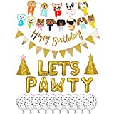 Dog Birthday Party Supplies,Dog Birthday Hat and Bow-WOOF Letter Balloons-Dog Theme Party Bunting Decoration Party Supplies (aa)