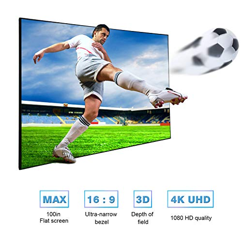 YODOLLA 100 inch Projection Screen 16:9 HD Projector Movies Screen for Home Theater Outdoor Indoor (1.1 Gain, 160Viewing Angle)