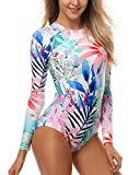 AXESEA Womens Long Sleeve Rash Guard UV UPF 50+ Sun Protection Printed Zipper Surfing One Piece Swimsuit Bathing Suit
