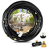 Outdoor Misting Cooling System 49.2FT(15M) Misting Line+ 12 Brass Mist Nozzles + 8 Brass Adapters Outdoor Mister for Patio Garden Greenhouse Trampoline for waterpark