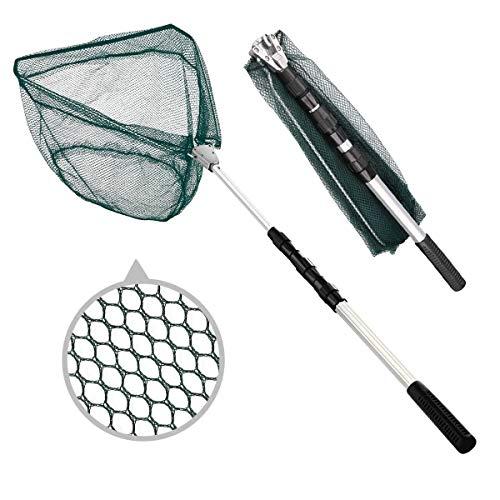 BoloShine Retino da Pesca Pieghevole, 190cm Retrattile Telescopico della Lega di Alluminio Ultra-Leggero Guadino da Pesca per Bambini e Adulto (Triangolare)