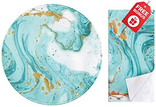 Tapis de souris rond pailleté marbre turquoise. Design mignon coloré avec...