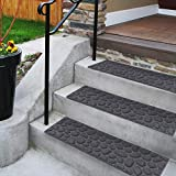 Comme Rug Stair Treads with Rubber Backing,Non-Slip,Indoor Outdoor Step treads,Set of 6,Grey Stone Pattern,8.5' x 30'