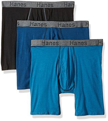 Hanes Men's 3-Pack Comfort Flex Fit Ultra Soft Long Leg Boxer Brief, Assorted, Medium