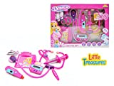 Little Treasures Deluxe Kids Pretend and Play Doctor kit Play Set with Light and Sound Actions 12 Piece Medical Equipment - Emergency Help for Patients checkups and Well Visits Toy Set