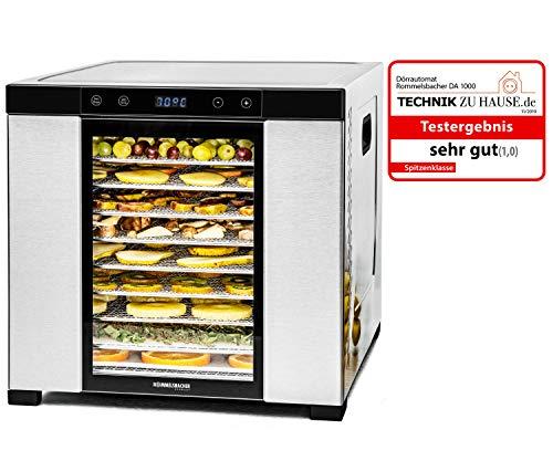 ROMMELSBACHER Dörrautomat DA 1000, XXL-Dörrfläche 1,6 m², inkl. 10 Edelstahl-Dörrtabletts, 2 Dörrgitter, 2 Dörrmatten, LED-Display, 24 Std. Zeitschaltuhr, Temperatur einstellbar (35 °C – 75 °C)