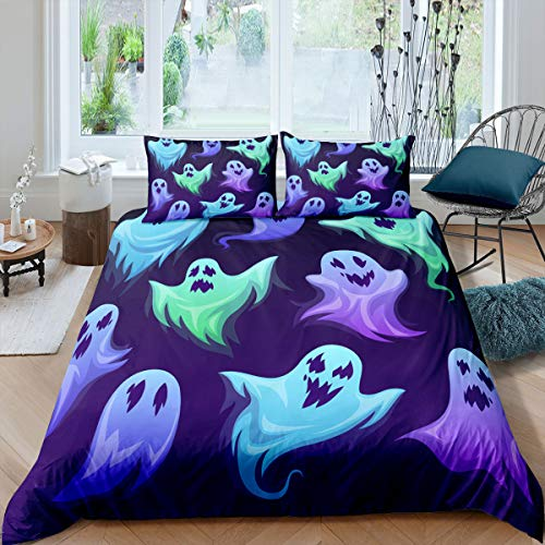 Erosebridal Gothic Duvet Cover Queen Size Terror Spooky Bedding Set for Boys Teens Adult Men Halloween Horror Theme Quilt Cover Blue and Purple Comforter Cover Decorative Room