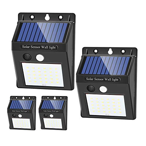 Solar Lights Outdoor - 30 LED Motion Sensor Lights, IP65 Waterproof, Easy-to-Install Security Wireless Outdoor Lights for Yard, Patio, Garage(4 Pack-Cool White,YGLSLSM)