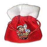 IUBBKI Yo-Kai Watch Christmas Christmas Bag Santa Saco con cordón Bolsa de Regalo roja Mochila para Suministros de Fiesta de Navidad Pequeño