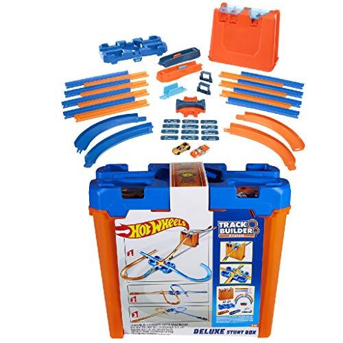 Hot Wheels GGP93 - Track Builder Mega Stunt Box mit Tracksets und Zubehör inkl. 2 Autos, Jungen Spielzeug ab 6 Jahren