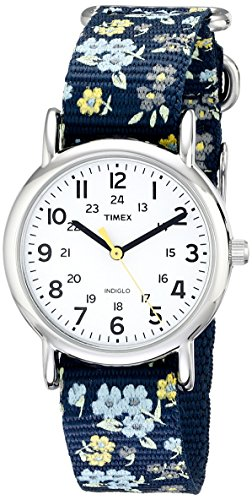 Timex Women's T2P370 Weekender 31mm Blue Floral Nylon Slip-Thru Strap Watch