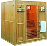 Canadian Hemlock Wood Swedish Traditional 69' 4 or 5 Person Indoor Double Twin Bench Sauna Spa, Includes 8KW Wet or Dry Heater, Sauna Rocks, 2 Shelves and Towel Racks