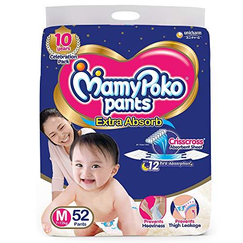 MamyPoko Pants Extra Absorb Baby Diaper, Medium (7 - 12 kg), 52 Count