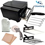 glowberg Heating Element 1500W Small Electric Tandoor Combo with Hand Gloves, Grill Stand, Magic Cloth, Recipe Book, 4 Skewers, Pizza Cutter, 4 Shocked Proof Rubber Legs (Black)