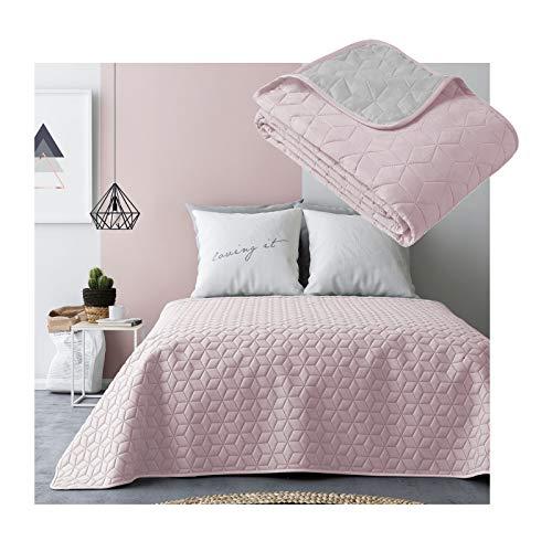 JEMIDI Tagesdecke Bett und Sofaüberwurf gesteppt 220cm x 240cm Überwurf Tagesdecke Sofa Couch Decke Husse Überwürfe Steppdecke XL XXL (Variante 2 Rosa/Grau)