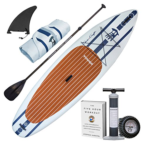 "Tower Inflatable 10'4"" Stand Up Paddle Board - (6 Inches Thick) - Universal SUP Wide Stance - Premium SUP Bundle (Pump & Adjustable Paddle Included) - Non-Slip Deck - Youth and Adult - Chris Craft"