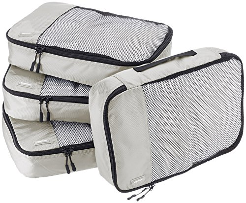 Amazon Basics Lot de 4sacoches de rangement pour bagage TailleM, Gris
