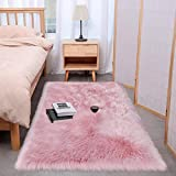 Wondo Soft Shag Faux Fur Sheepskin Area Rugs for Bedroom Home Decor Floor Sofa Couch Fluffy Carpet Chair Cover Cushion 2ft x 3ft,Pink