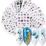 Pegatinas Uñas,Kapmore 24 Hojas Pegatinas Uñas Decorativas Nail Art Stickers Elegante Estampado...