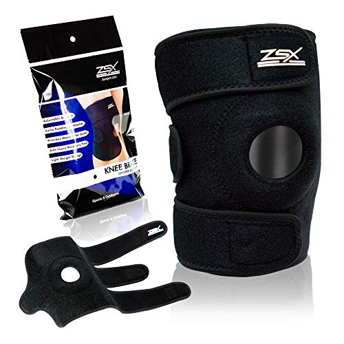 ZSX Compression Knee Brace Support Protector Adjustable, Pain Relief, Injury Recovery with Arthritis, Meniscus Tear, ACL, MCL Premium Patella Stabilizers Non Slip Comfort Breathable Neoprene (Medium)
