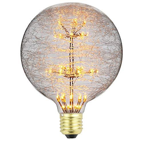 TIANFAN - Lampadina a LED, stile vintage, effetto fuoco dartificio con Luna, luce bianca calda, 3W, 220/240V, attacco E27, Vetro, G125, E27
