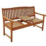 Gartenbank 3-Sitzer Sun Flair, Sitzbank aus Holz mit Klapptisch