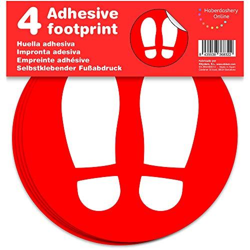 Marcatori adesivo da pavimento, impronta | Separatori di clienti per negozi | 4 unit di 19 cm (Rosso)