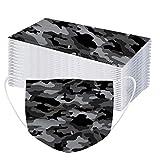 30PCS Mode 𝐌𝐀𝐒𝐐𝐔𝐄 Imprimé Camouflage Tissu Respirant Bandana pour Protection Contre Les Particules de Poussière et Les Gouttelettes de Salive pour Femme Homme - A
