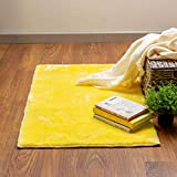 Super Area Rugs Soft Faux Rabbit Fur Washable Rug Small Mat, Yellow 2' x 3' 3'