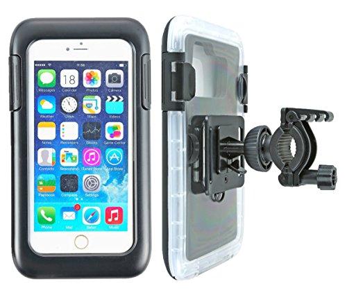 """smart2Bike® Fahrradhalterung / Motorrad-Halterung mit Hard Case (Schutz-Tasche) für Smartphone, Navigator, Handy, uvm. - Display-Diagonale Universal: 5,5\"""" (bis 6\'\') passend zu Apple iPhone 6 Plus, 6S Plus, Samsung Galaxy uvm. Schutzhülle Spritzwasser geschützt! Mit Sicherungsriemen, rückseitigen Gürtelschlaufen und 1/4\'\'-Gewinde!"""