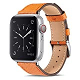 Marge Plus Compatible with Apple Watch Band 44mm 42mm 40mm 38mm, Genuine Leather Replacement Band...