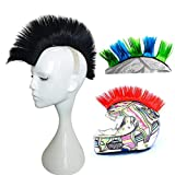 3T-SISTER Helmet Mohawk Wig Motorcycle Adhesive Mohawk Hair Patches Skinhead Costumes Wig-Black (Helmet not Included)