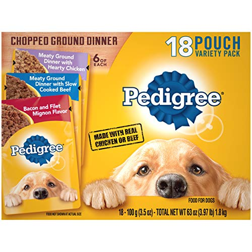 PEDIGREE Chopped Ground Dinner Adult Soft Wet Meaty Dog Food Variety Pack, (18) 3.5 Oz. Pouches