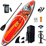 FEATH-R-LITE Inflatable Stand Up Paddle Boards(6 Inches Thick)for Youth & Adult Everything Included with Board, Non-Slip Deck, Travel Backpack, Adj Paddle, Pump, Leash, Water Proof Bag, Repair Kit