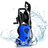 WHOLESUN 3000PSI Electric Pressure Washer 1.8GPM 1600W Power Washer with Hose Reel and Brush Blue