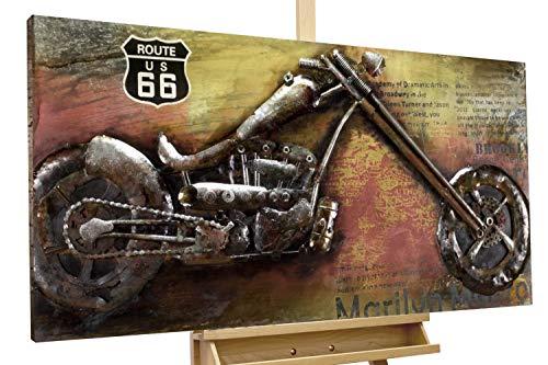 KunstLoft Tableau métallique 3D 'Outlaw Bike' 120x60x7cm | Décoration...