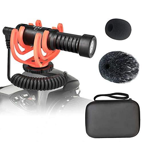 ビデオカメラマイク 外付けマイク 単一指向性マイク ショックマウント+ウインドスクリーン付きiPhone、Androidスマートフォン、Canon EOS、Nikon DSLRカメラとビデオカメラに対応