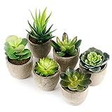 GoMaihe Plante Artificielle Interieur 6 pcs, Fausse Plantes avec Pot Gris...