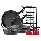Cast Iron Skillet Set - 6'+8'+10'+12' - Pre-Seasoned Oven Safe Cookware Kit - Bonus: 4-Heat-Resistant Silicone Holders + Pan Organizer + Scraper - Indoor and Outdoor Use - Grill, Stovetop